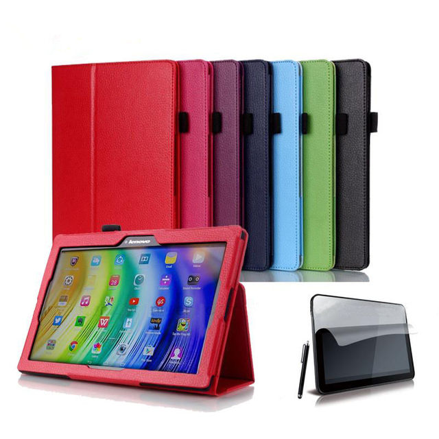 """For Lenovo Tab 2 A10 70F Leather Case Cover For Tab2 A10-70 70 A10-70F A10-70L A10-30 X30F Tablet 10.1"""" Screen Protector + Pen"""