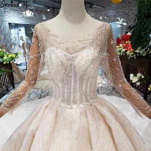 Image 4 - แขนยาวหรูหรา Sparkle ชุดแต่งงาน 2020 VINTAGE High end ประดับด้วยลูกปัด Sequined เซ็กซี่เจ้าสาว Gowns HX0180 CUSTOM Made