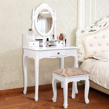 White Vanity Makeup Dressing Table with Rotating Mirror 3 Drawers Makeup Table Stool With 360 Degrees Rotatable Mirror HW50201(China)