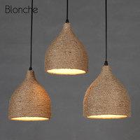 Vintage Industrial Pendant Lights Loft Decor Hanging Lamp Rope Weaving Nordic Light Fixtures for Indoor Dining Room Kitchen Bar