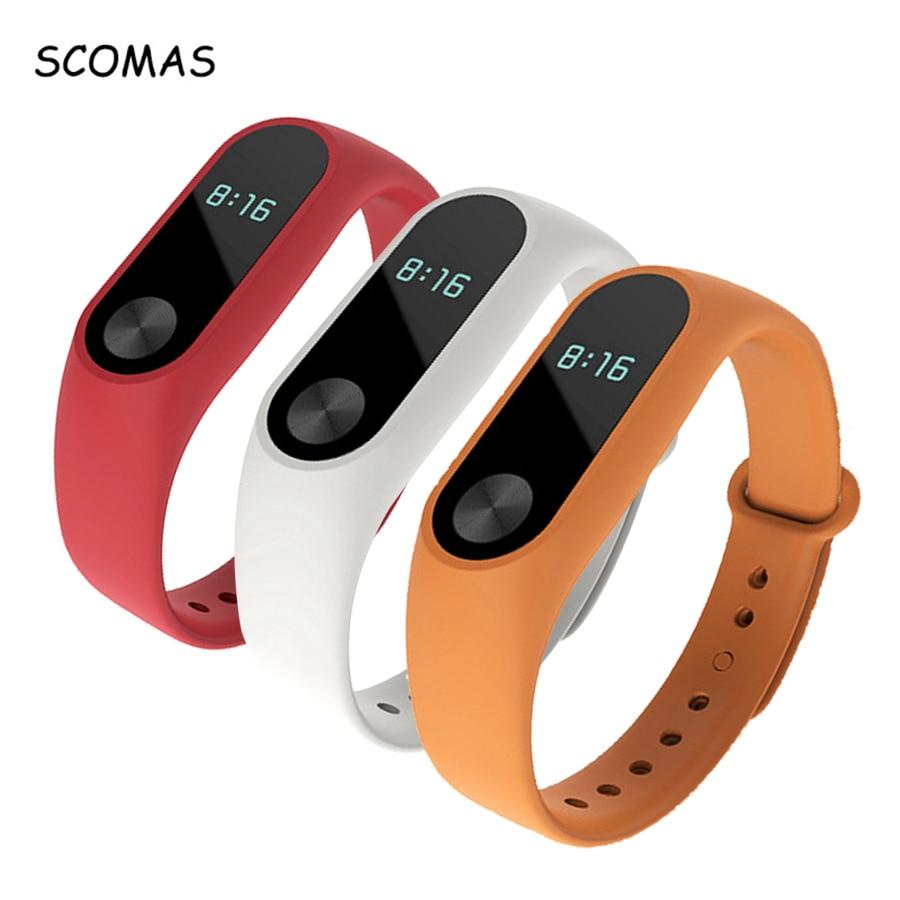 SCOMAS Untuk Mi Band 2 Tali silikon Mudah laras Panjang Penggantian Band Gelang Watch Pintar Untuk Xiaomi Miband 2