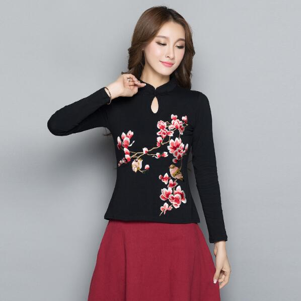 a8c787ca Camisa China 2018 mujer blusa étnica femenina m-4xl elegante vintage mandarín  collar manga larga