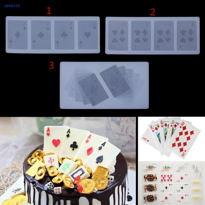 JAVRICK Sugarcraft Playing Cards 4 Aces Poker Four Of A Kind Fondant Silicone Mold Jewelry Craft Tool