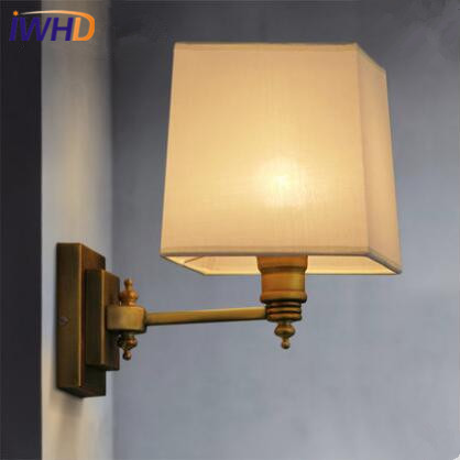 IWHD Nordic LED Wall Lamp Brass Copper Wall Lights Fabric Lampshade Retro Loft  Fixtures For Home Lighting Arandela Luminaire iwhd loft vintage led wall lamp glass lampshade retro industrial wall lights bedside light fixtures for home lighting luminaire