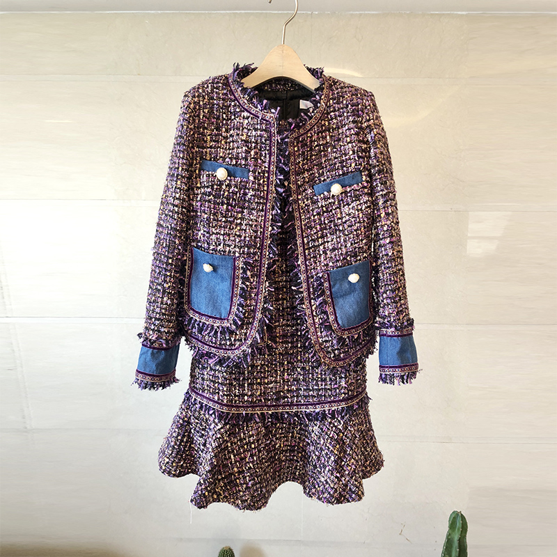 Dress Suits Women Runway Luxury Designers Elegant Office Ladies Formal Tweed Blazer Jacket Coat Mini Dress 2 Piece Set Female