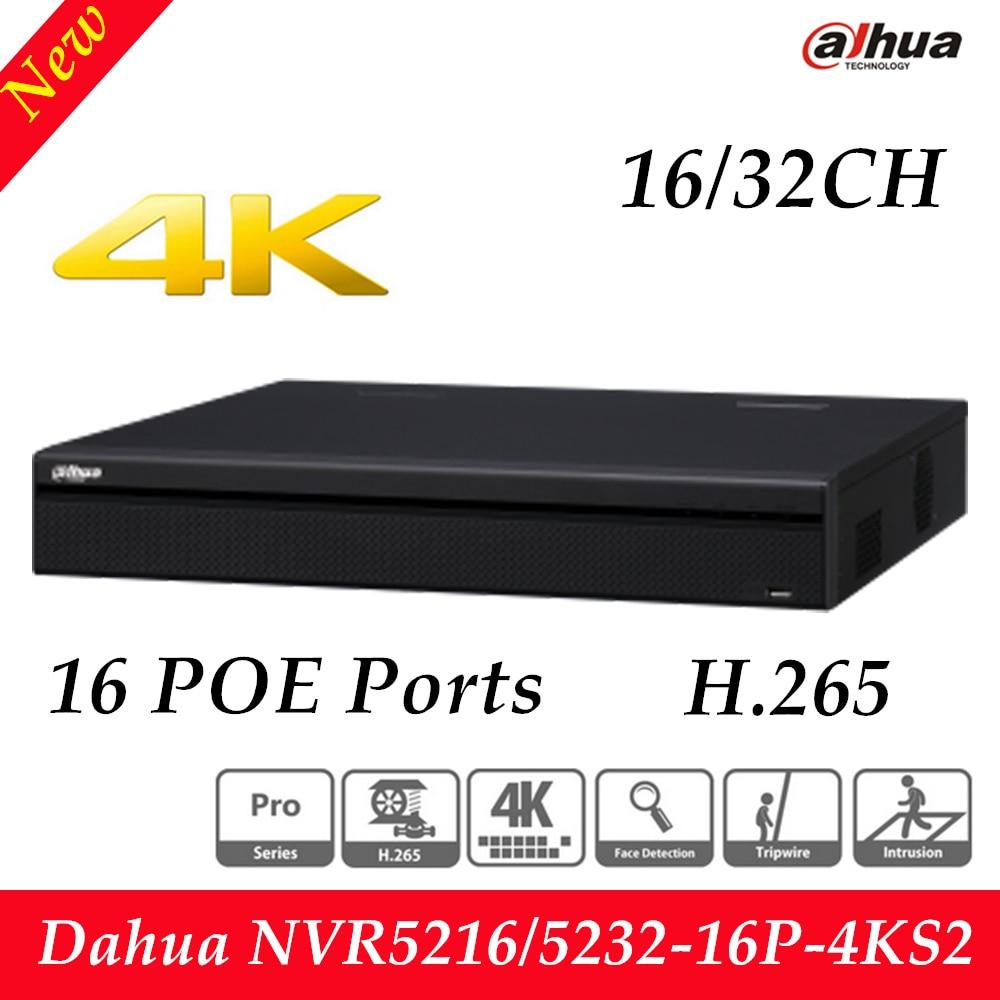 dahua p2p 4k nvr 4ch 8ch 16ch video recorder nvr4104hs 4ks2 nvr4108hs 4ks2 nvr4116hs 4ks2 h 265 8mp resolution Free Shipping Dahua 16/32 Channel 1U 16PoE 4K&H.265 Pro Network Video Recorder HDMI H.265 NVR5216-16P-4KS2/NVR5232-16P-4KS2