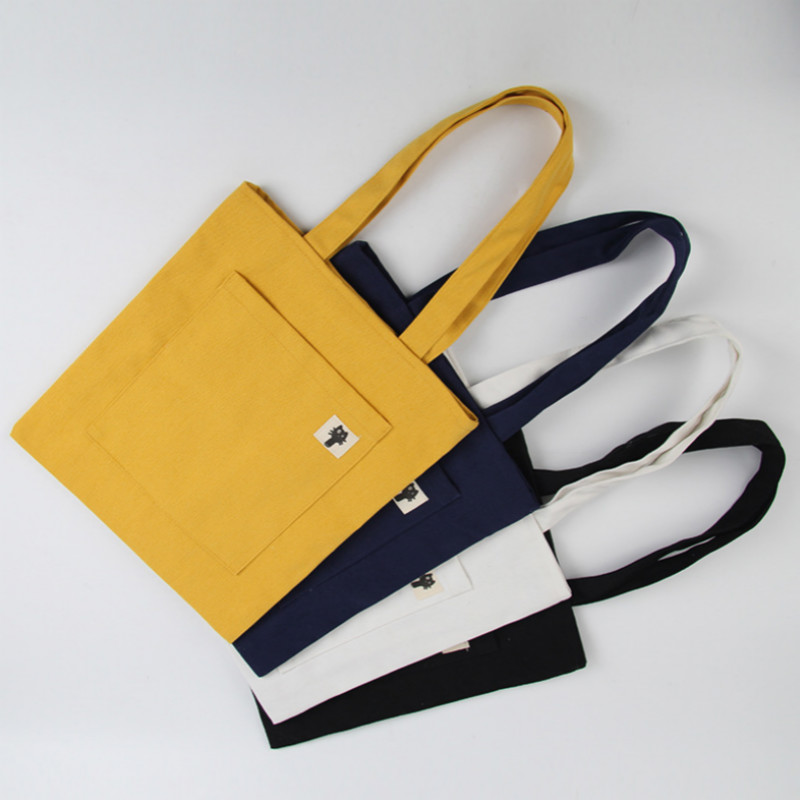 Tote Bag Canvas Foldable Shopping Bag Women Female Daily Use Large Capacity Grocery Shopper Bag