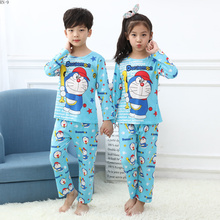 Купить с кэшбэком Spring Children Pajamas Suit 2019 Long Top Set Cartoon Boys Cute Full Pants Pajamas Suit Girls Sleepwear Set Baby Children's Set
