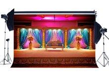 Luxuriöse Bühne Hintergrund Innen Schule Zeigen Kulissen Phantasie Glänzende Vorhang Weiß Stuhl Shabby Teppich Hintergrund