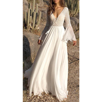 Sisjuly Women Spring Extra Long Bohemian White Dress Big Swing Deep V Neck Draped Tassel Hollow Out Patchwork Lace Up Maxi Dress