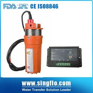 Погружной Солнечный водяной насос для глубокой скважины Singflo 9300 24v 360LPM 70M Lift DC + 15A контроллер