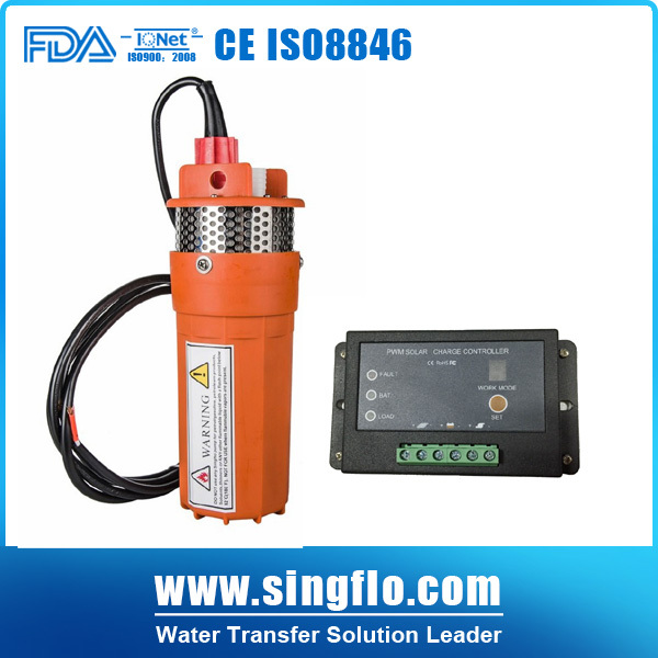 submersible solar water Pump for deep well Singflo 9300 24v 360LPM 70M Lift DC +15A controller biber 40202