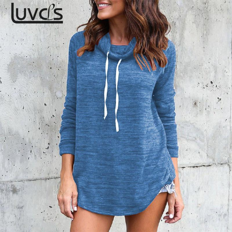 LUVCLS Womens Hoodies Streetwear 2018 Autumn Casual Loose Turtleneck Womens Pullovers Hoodies Casual Hoodies Polerones Mujer