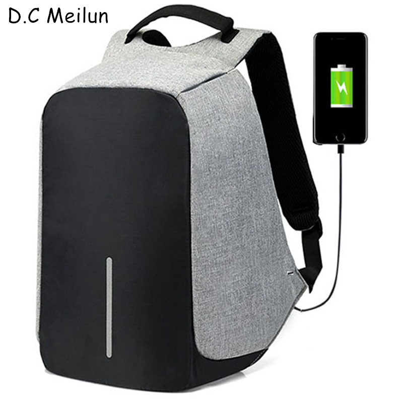 цена на D.C Meilun 15 inch Laptop Backpack USB Charging Anti Theft Backpack Men Travel Backpack Waterproof School Bag Male Mochila