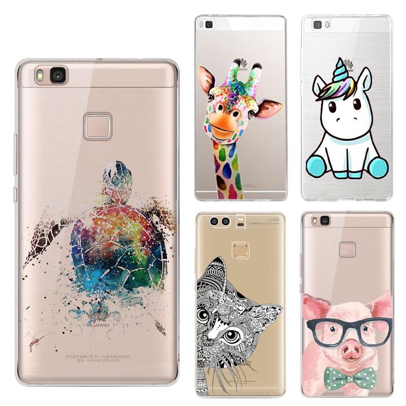 Licorne Mer Tortue Silicone Téléphone Cas Pour Huawei P8 P9 Lite Arc-En-Girafe Mignon Petit Cochon Chat Éléphant Couverture Arrière soft Shell