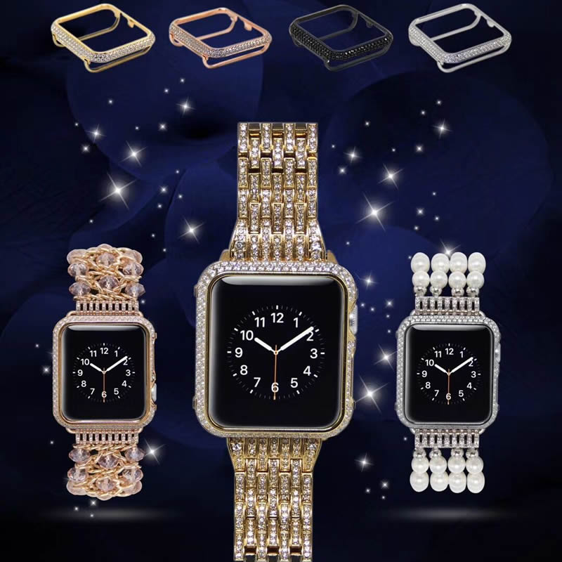 For Apple <font><b>Watch</b></font> Series 3 iWatch Luxury <font><b>Watch</b></font> Case Hand Made By Crystal <font><b>Diamond</b></font> Shell Protect Cover For Apple <font><b>Watch</b></font> Series 1 2 3 image