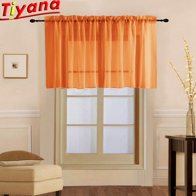 Solid Short Tulle Curtains For Kitchen Green/Orange/Grey Multi-color Short Curtains For Small Window Bedroom WP184S#20