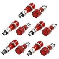 10 pces dc 12 v recessed lâmpada indicadora de sinal de luz piloto vermelho