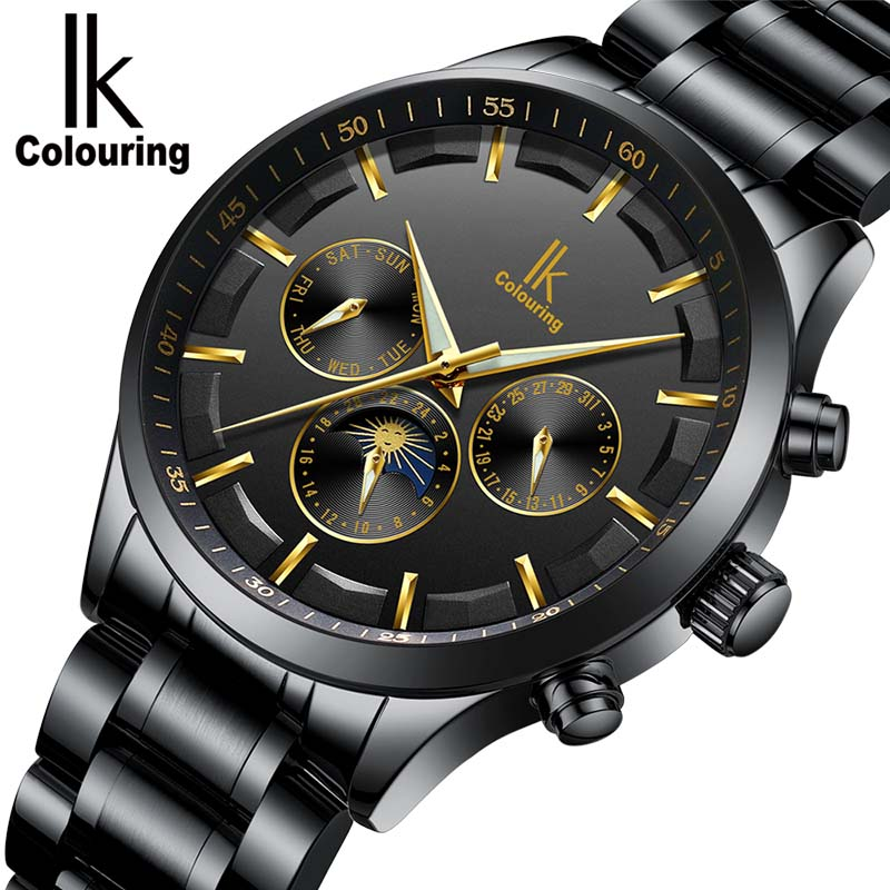 Skeleton Automatic Watch Men IK colouring Fashion Waterproof men watches Relogio Automatico Masculino leather watchbands