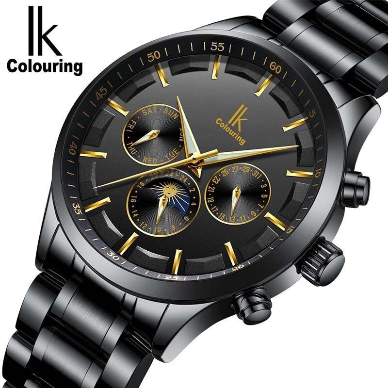 6b198fca003 Esqueleto Homens Relógio Automático IK coloração Moda pulseiras de relógio  de couro dos homens relógios Relogio Automatico masculino À Prova D  Água