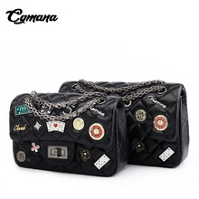 CGmana Women Handbags 2018 Shoulder Bag Chain Belt Badge Messenger High Quality Diamond Lattice Bags Lady Crossbody