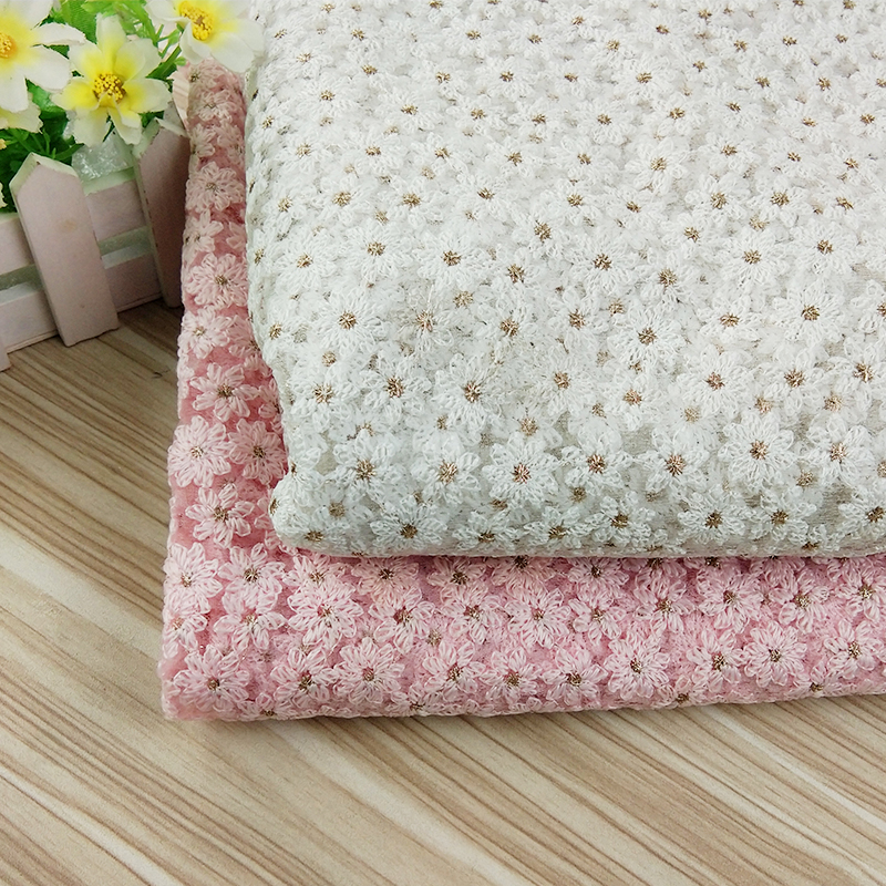 1 Yard Daisy Flowers Embroidered Lace Fabric Tulle Summer African Fabric For Womens Wedding Dress Sewing Net French Fabric Craft in Lace from Home Garden