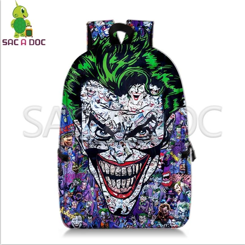 Crazy Joker Batman Collages Backpack Superhero School Bags for Teenage Girls Boys Fans Daily Backpack Kids Book Bag