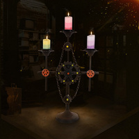 Free Shiping Black Color Metal Candle Holder Retro Iron Wheel Style Candlestick 59cm Tall Wedding Event
