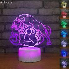3d ночники в форме волка креативные игрушечные светильники светодиодная