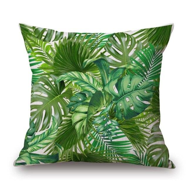 Feuille De palmier Beige Housse de Coussin Vert pour Protection
