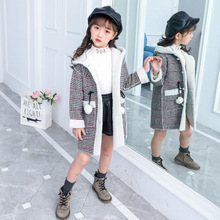 купить Plaid Winter Girls Coat Long Windbreaker Kids Clothes Big Girls Wool Coats Kids Outerwear Fleece Girls Jackets Children Clothing дешево