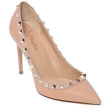 Frauen Apricot & Rosa Pleather Punkt Zehe Nieten Punkt Toe High Heels Pumps Schuhe für Frau, Plus größe 5-14, casual & party