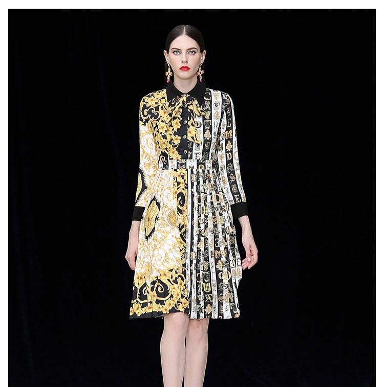 Arc Mode Neck De Grand Robe Pour Plissée Piste Turn Manches Style down Baroque Robes La Rue Partie Patchwork Pleine 87xqPE