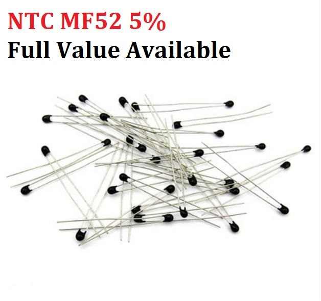 20PC NTC MF52 1K 2K 3K 4,7 K 5K 10K 20K 47K 50K 100K 5% 3950B NTC-MF52AT termistor resistencia térmica 1/2/3/4,7/K Ohm R envío gratis