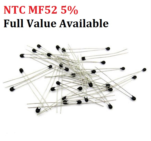 20PC NTC MF52 1K 2K <font><b>3K</b></font> 4.7K 5K 10K 20K 47K 50K 100K 5% 3950B NTC-MF52AT Thermistor Thermal <font><b>Resistor</b></font> 1/2/3/4.7/K <font><b>Ohm</b></font> R Free Ship image