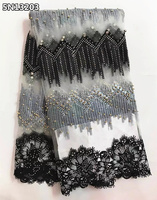 Heavy Lace African Beads And Stones Lace Fabric Nigerian French Fabric 2017 High Quality African Tulle