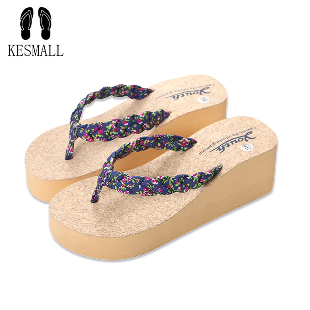 KESMALL Women Flowers Flip Flops Female Summer Beach Wedges Slippers Water-resistant 5.6CM High-heeled Slippers 3 Color WS97 fashion summer shoes women flip flops female beach slippers water resistant high heeled slippers hand made flower sandle
