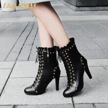 11481359b31e1 SARAIRIS 2018 grande taille 34-48 Zip Up Nouvelle Mode En Gros Chaussures  Femme Bottes Automne Hiver Haute Talons Mi veau Bottes.