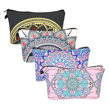 METABLE 4 Pcs Portable Cosmetic Bags Mandala Flowers Patterns Travel Toiletry Pouch Pen Pencil Case Storage Organizer Bag