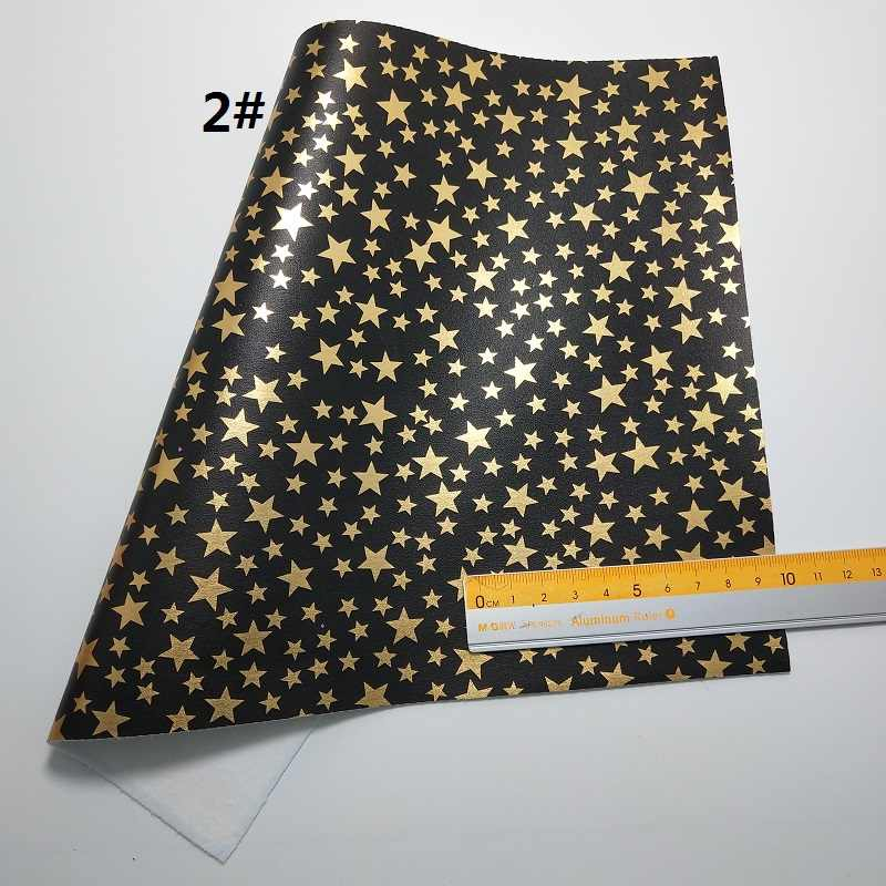 1 PC 21X29 CM Vàng Chunky Long Lanh Da In Vàng Stars Leopard Da Cho Làm Cung Phụ Kiện LEOsyntheticoDIY s240B