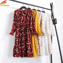 Summer Dress 2018 Women Floral Printed Chiffon Dress Lady Bow Tie V Neck Long Sleeve A