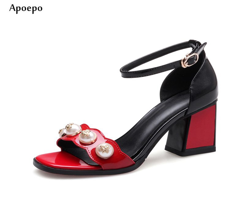 New 2018 Mixed Colors Patent Leather High Heel Sandal Open Toe Pearls Beaded Thick Heels Woman Shoes Sexy Ankle Strap Sandal new fashion big pearls beaded woman flat shoes 2017 sexy open toe sandal crystal embellished slides