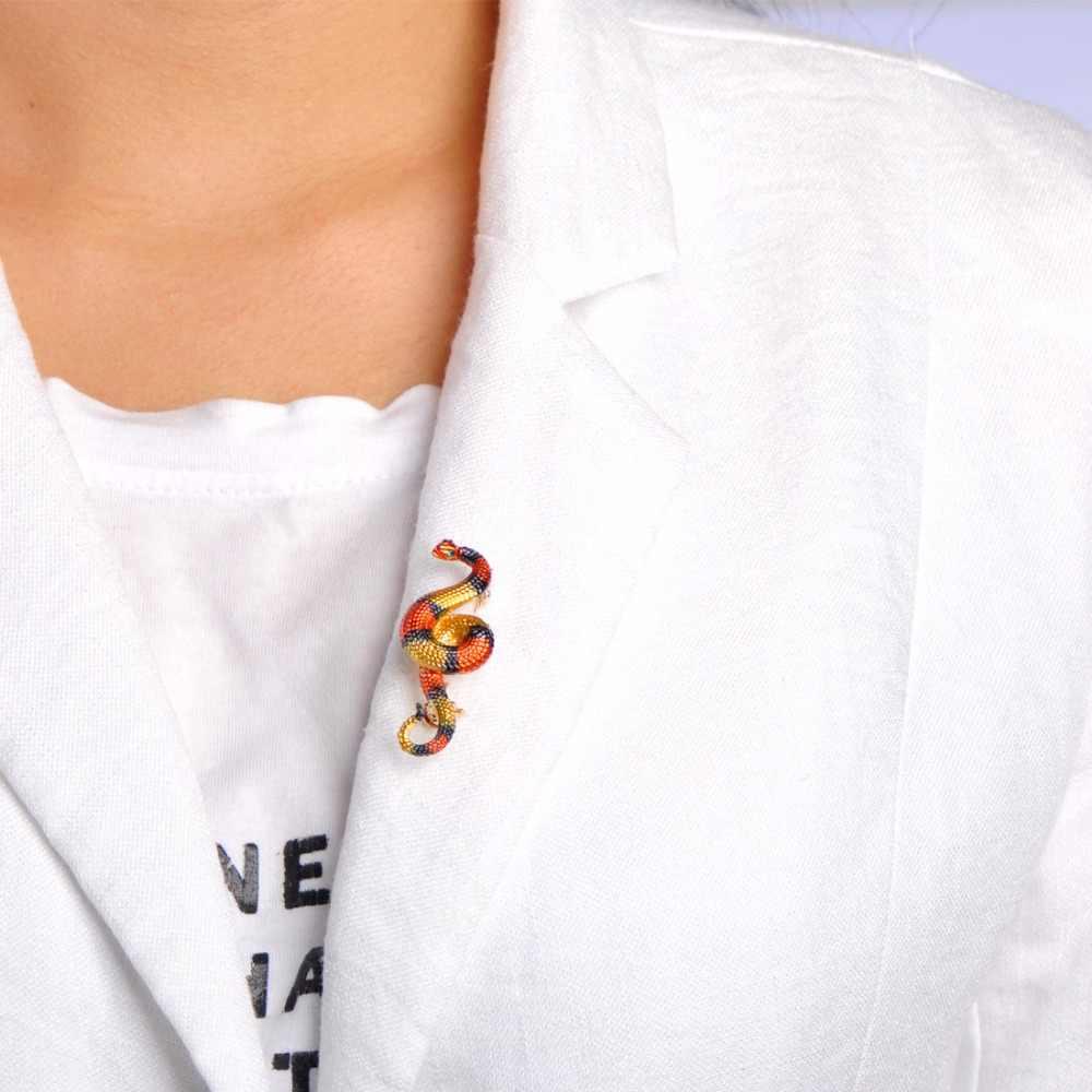 Funmor разноцветные броши в виде змеи, эмаль, полосатый цвет, для костюма, с отворотом, брошь в виде животных для женщин, детский Подарочный значок Joias