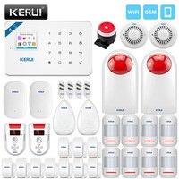 KERUI Wireless Home Alarm GSM WIFI Security Alarm Gas Detector Leakage Detector Built in Siren With Outdoor Solar Siren Alarm