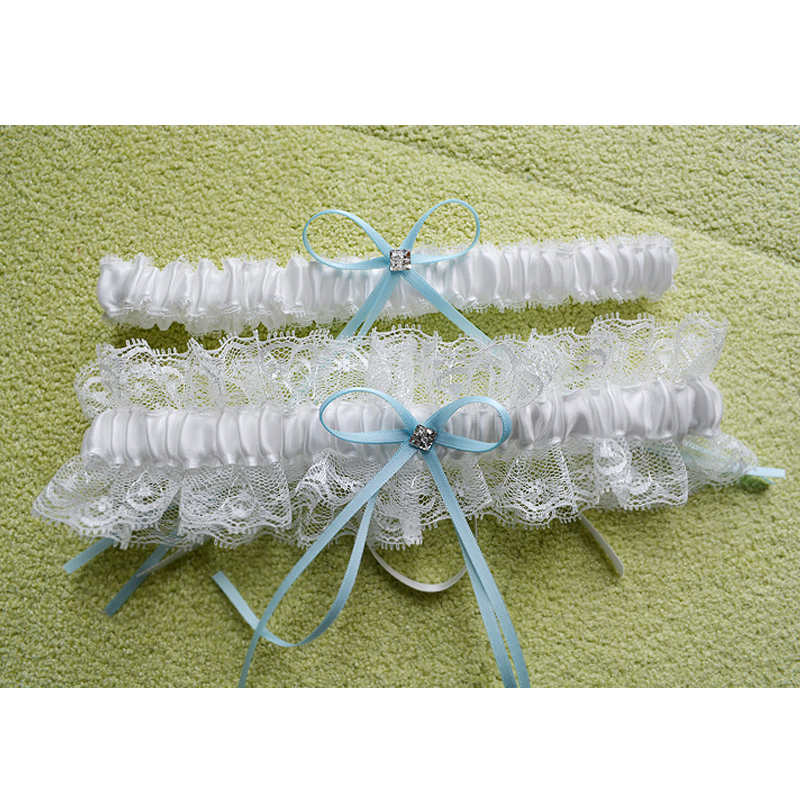 2pcs/set Lace Wedding Garter Crystal Blue Bow Bride