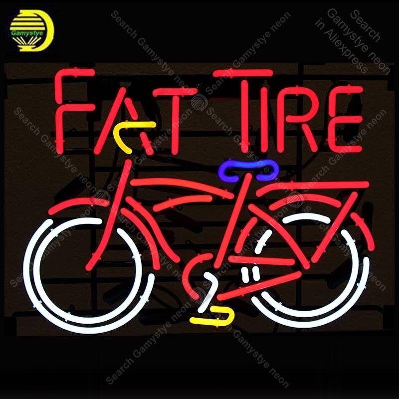 Fat Tire Néon Signe Décorer Magasin de vélos Verre Tube Cool Néon Ampoules Loisirs Artisanat Intérieur Cadre Signe Magasin Affichage 24x20