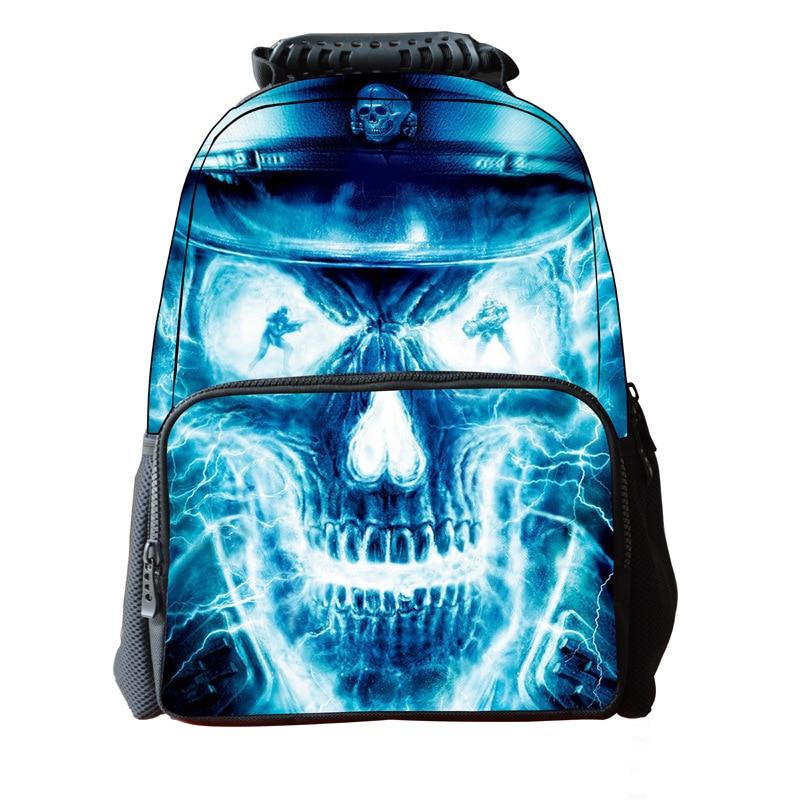 3D Skull School Bags For Boys Girls Teenagers Mochila Cartoon Printing Backpack Men Punk Rock Women Backpacks Bag 16 inch 3d denim cute cat backpack for teenagers boys girls animal dog printing school bags mochila bolsas escolar