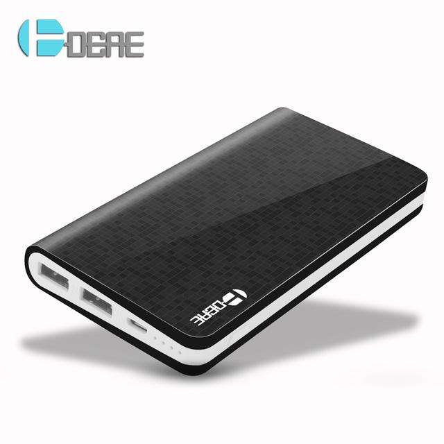 DCAE Preto Power Bank 10000 mAh Dual USB Carregador De Bateria Portatil Recarregável powerbank Bateria Externa para todo o telefone