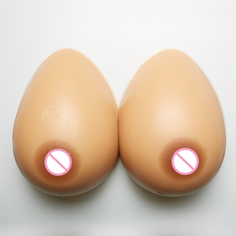2000g/pair Silicone Breast Forms Fake Artificial Boobs Brown For Crossdresser Transgender Shemale Chest Enhancer 42E/44DD/46D