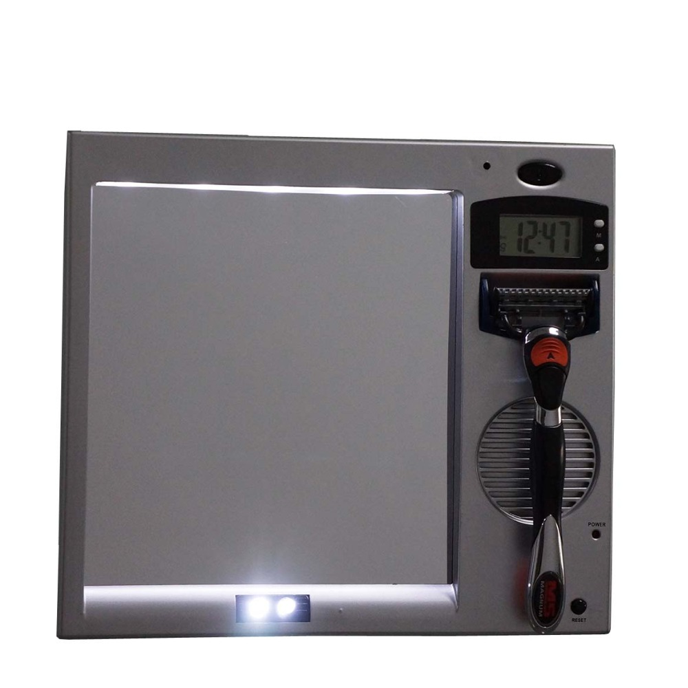 Led Shaving Mirror Fogless Bathroom Radio Clock Shave Helf Fog Free Mirrors Bathroom Shaver Mirror. Bathroom Radio Clock